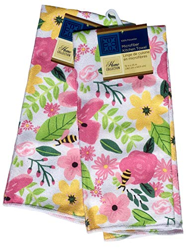 Home Collection Floral Bees Sentiment Microfiber Kitchen Towel (15 x 25 in), Pink, Set of 2 ()