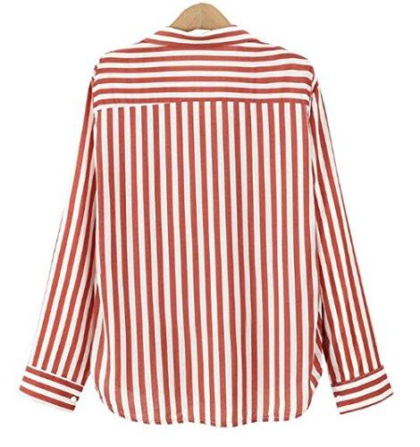 Ray Chemises Haut Shirt Blouse Rayures Manches Top Tayaho Femme Chemises Vintage Bouton ElGant Mince T Stripes Avec Classique Longues Tops Cardigan Lache red UXqawHqP