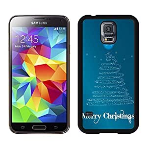 S5 Case,Merry Christmas Line Tree TPU Black Case For Galaxy S5,Samsung Galaxy S5 I9600 Protective