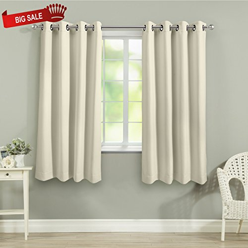 VEEYOO Modern Style Blackout Curtains Grommet Top Thermal Insulated Curtains and Drapes with Tiebacks for Living Room and Bedroom, 2 Panels, 52
