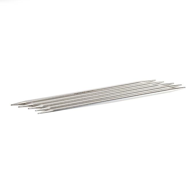 Ferri da maglia a doppia punta argento 15 cm appuntiti HiyaHiya 2,00 mm