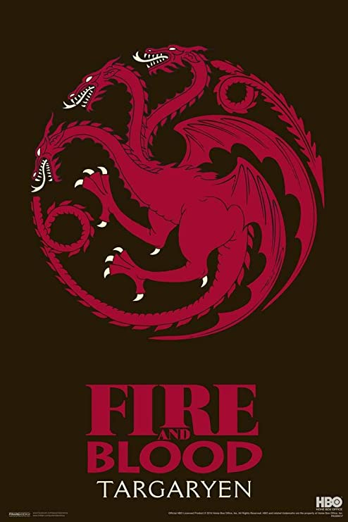 Game of Thrones Iron Throne Fire and Blood Poster 12x18 Inch