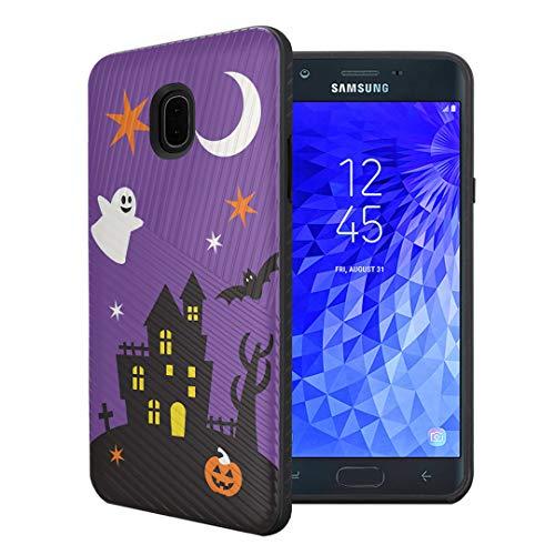 Galaxy Life Halloween (Capsule Case Compatible with Samsung Galaxy J7 2018 (J737), J7 Star, J7 Aero, J7 Refine, J7V 2nd Gen, J7 Crown, J7 Eon [Embossed Diagonal Layer Slim Case Black] -)