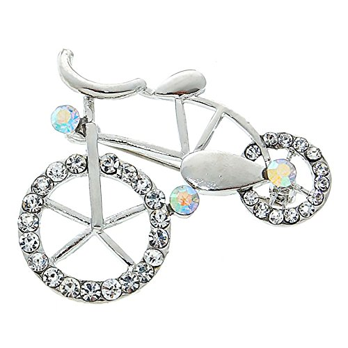 Brooch Bike Pin (Red Cube Sparkly Bicycle Cycle Brooch Silvertone Rhinestone Crystal Glamour Bike Wheel Sport Pin Jewelry (Bicycle))