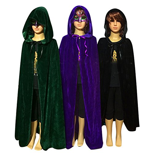QBSM Kids Halloween Costumes Witch Velvet Hooded Cloak Cape Party Role Cosplay (M ( 31.5''/80cm ), Green) - Velvet Witch Child Costumes