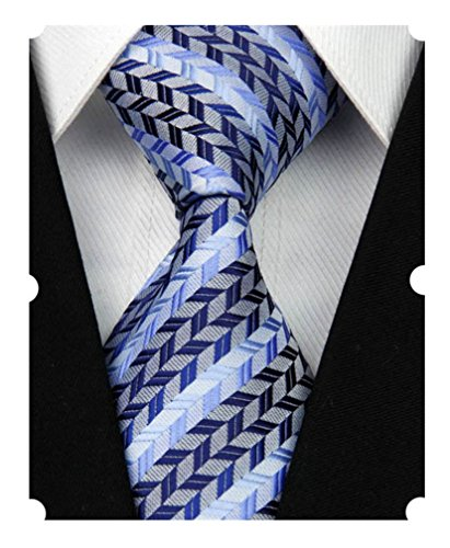 Blue Striped Designer Silk Necktie (MENDENG New Men's Dark Blue Light Blue Striped Silk Tie Business Wedding Necktie)