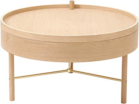 Amazon Com Yj Round Storage Coffee Table Solid Wood Round Screw On Coffee Table Light And Simple Storage Storage Suitable For Office Desk Game Center Home Office Home Kitchen