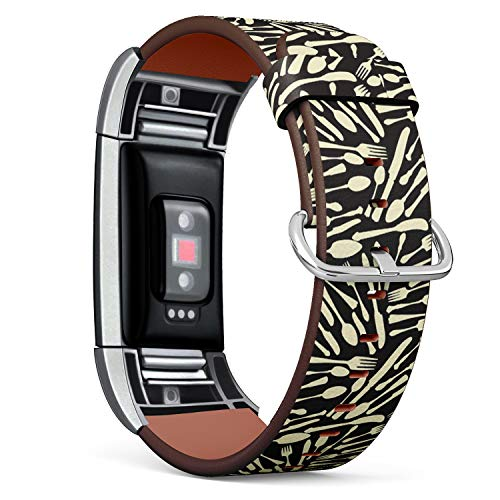Compatible with Fitbit Charge 2, Leather Wristband Bracelet with Stainless Steel Clasp and Adapters -Flatware ()