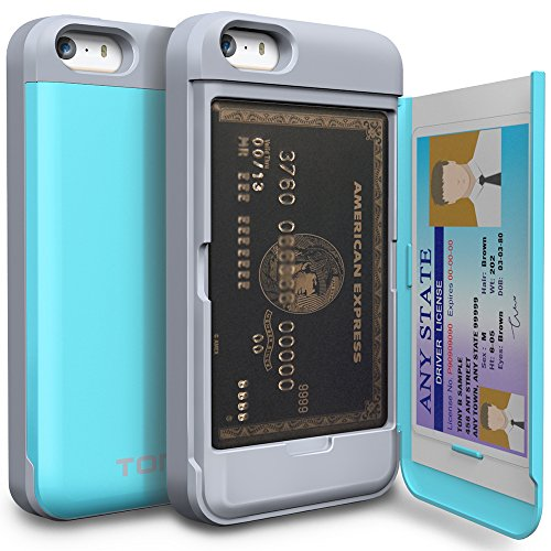 iPhone SE Case, TORU [CX PRO][Blue] Protective Hidden Wallet Case with [Card Slot][ID Holder][Mirror] for iPhone 5 / 5S / iPhone SE - Cyan (Iphone 5 Storage Case compare prices)
