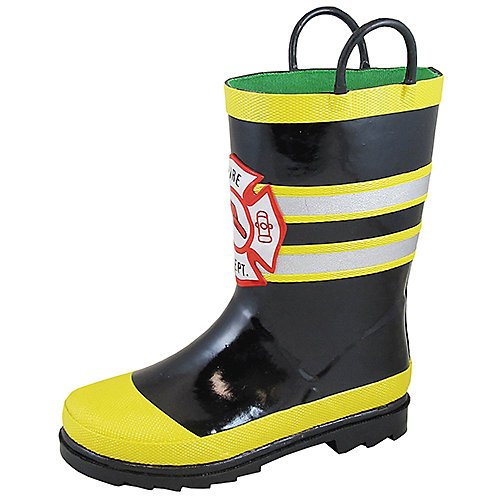 Fireman Waterproof Rubber Rain Boot Round Toe Black 12 D (Fireman Rain Boots)