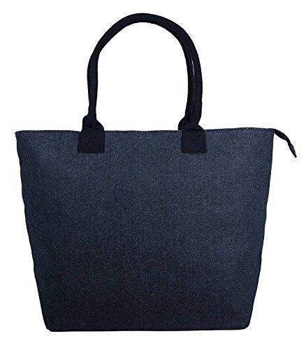Ladies Women Large Canvas Shopper Tote Beach Bag Fully Lined Lightweight Shoulder Holiday Bag (Denim (Denim Lined Tote)