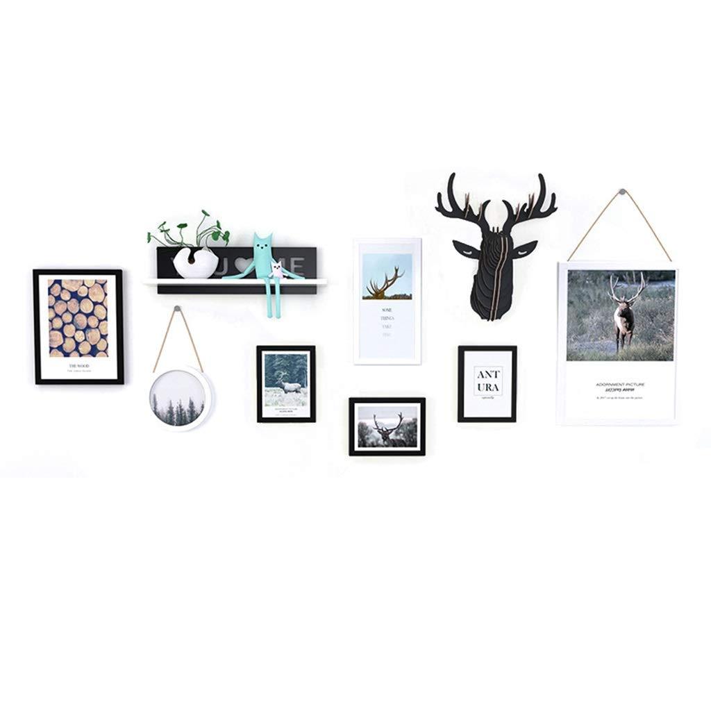 Unbekannt Moderne Minimalistische Restaurant Hintergrund Wand Anhänger Kreative Nordischen Stil Elch Wohnzimmer Wandbehang Schlafzimmer Dekorationen (Color : Black, Size : 170 * 68CM)
