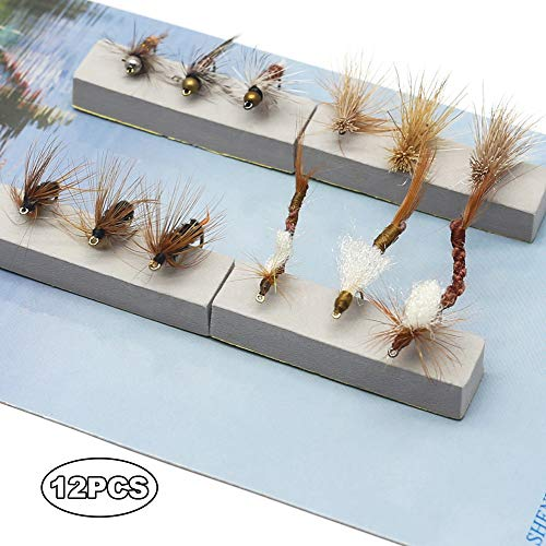 (YZD Fly Fishing Trout Flies Kit 12pcs Fly Fishing Lure for Trout Premium Dry Wet Flies Streamer Nymph Mayfly Emerger FlysTrout Fly Fishing Gear Bait)