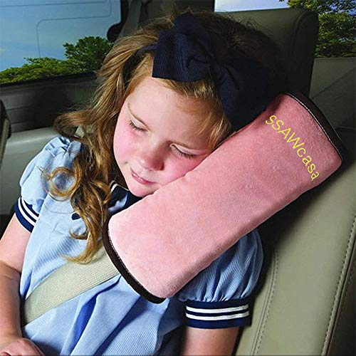 SSAWcasa Seat Belt Pillow for Kids,Car Seat Belt Cover,Vehicle Shoulder Pads,Safety Belt Protector Cushion,Plush Soft Auto Seat Strap Headrest Neck Support Seatbelt Pillow for Children Baby (Pink)