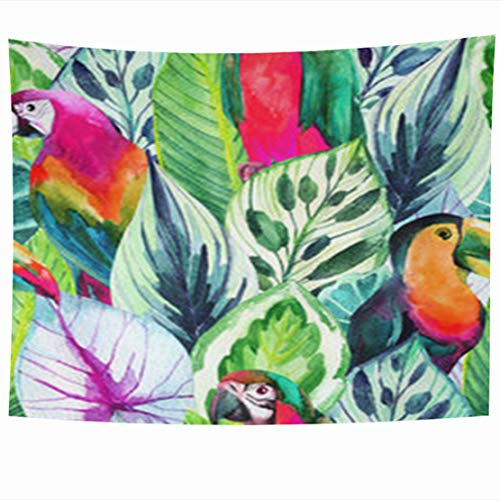 InnoDIY Tapestry Wall Hanging 80 x 60 Inches Rainbow Watercolor Parrots On Tropical Wildlife Bird Nature Pink Design White Hand Different Species Decor Tapestries Art For Home Bedroom Living Room Dorm
