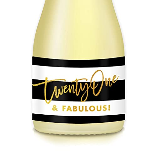HAPPY 21st BIRTHDAY Party Ideas Mini Champagne Wine Bottle Labels Lovely 20 Count TWENTY ONE Fabulous Decals Celebrating Her Twenty One Years Old