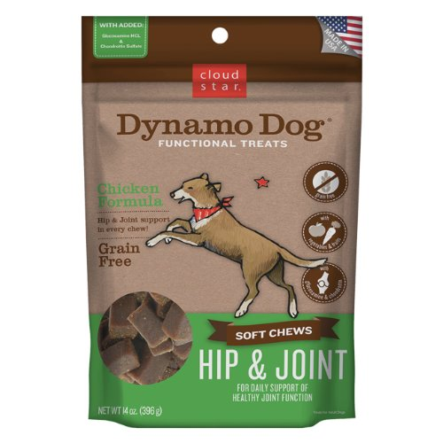 Dog Glucosamine Biscuits (Cloud Star Dynamo Dog Hip & Joint Soft Chew Treats Chicken Formula - Grain Free - 14 oz)