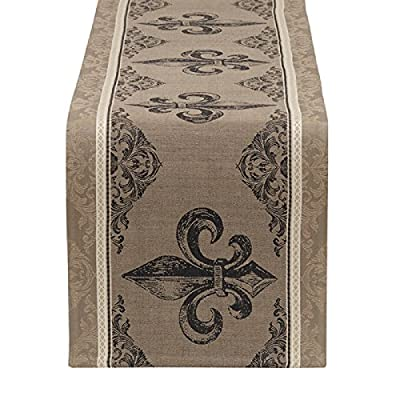 "DII Design Imports Fleur De Lis Stripe Jacquard Table Runner 14 x 72"" 100% Cotton.Hand wash cold Line dry Low iron - DII Design Imports Fleur De Lis Table Runner Measures 14 x 72 Inches 100% Cotton - table-runners, kitchen-dining-room-table-linens, kitchen-dining-room - 510VZQtJD9L. SS400  -"
