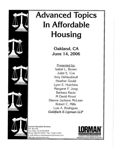 Advanced Topics in Affordable Housing