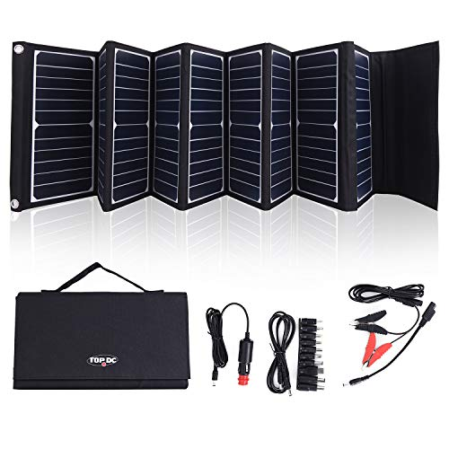 (TOPDC 60W High Efficiency 22% Solar Charger with 5V USB 18V DC Dual Output, with Battery Clamps and Car Charger for Laptop Tablet GPS Cellphone,Car, Portable Solar Power Charger for Camping & Outdoors)