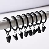 Multipurpose Rustproof Drapery Ring with Hook, Curtain Ring,Stainless Steel Metal ,10/30/50/100 Pack (Dark gray, 100)