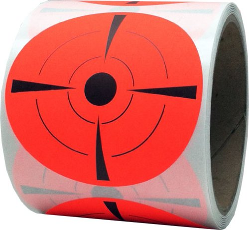 Shooting Targets Gun Range Pasters Fluorescent Red 3 Inch Circle 100 Total Adhesive (22 Long Rifle Target)