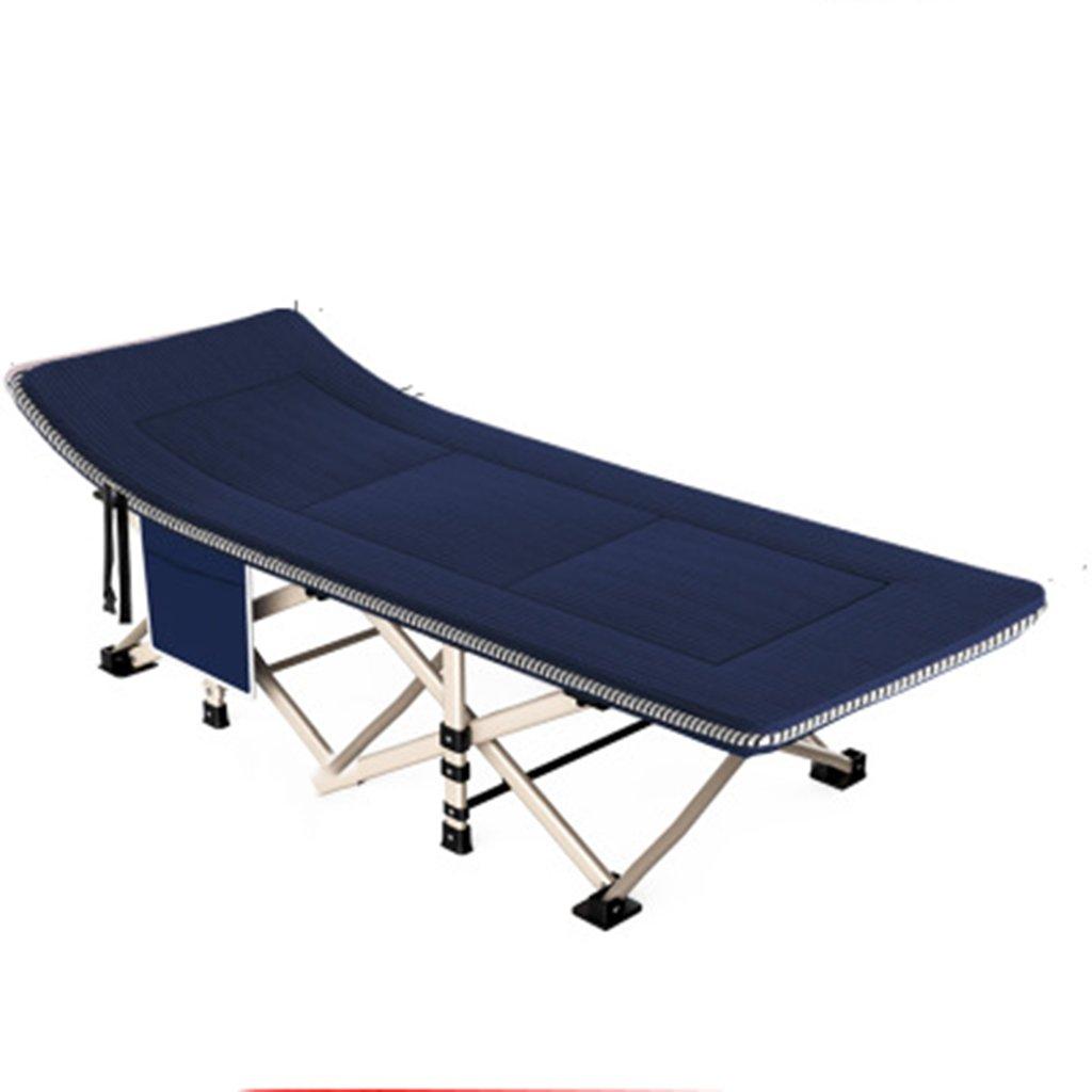 Stühle Im Freien faltendes Bett Einzelbett Home adultbed Einfaches Tuch Bett Campingbett begleitendes Bett (Farbe : Blau, Größe : 190  67  35 cm)