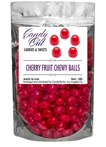 CandyOut Red Cherry Chewy Candy Sour Balls - 3lb - Sours Fruit Balls Candy