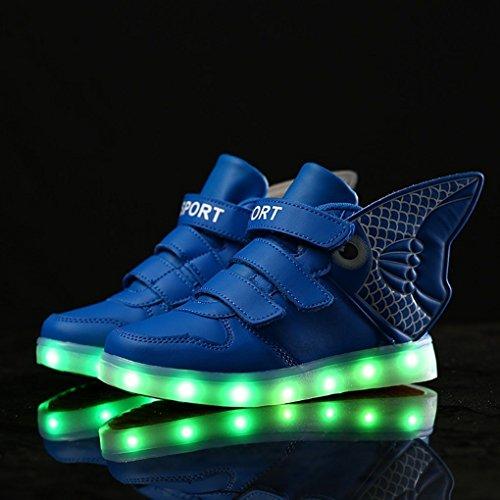 Goldfish Licht Schuhe Kinder mit Flügeln Licht Schuhe Feuer Kinder Schuhe USB Lade Licht Schuhe Blau