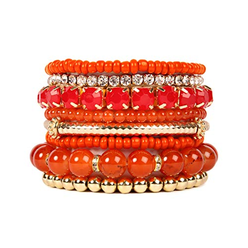 Stretch Bracelet Beaded Bangle (RIAH FASHION Multi Color Stretch Beaded Stackable Bracelets - Layering Bead Strand Statement Bangles ([S-M] Coral Orange))