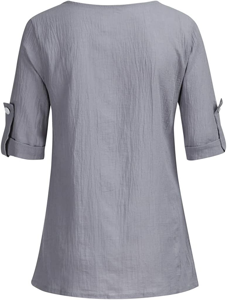 T-Shirts for Women Plus Size Crew Neck Roll Up The Sleeve Solid Casual Loose Splice Shirt Blouses Tops