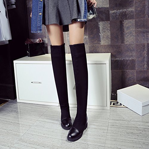 Autumn Black The Black Boots Elegant Over BIGTREE Boots Winter Faux Women Knee Flat Warm Long Suede Increased zx75q5RUw