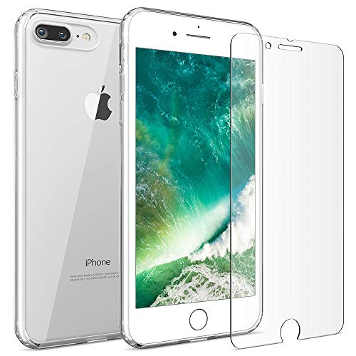 - FlexGear iPhone 7 Plus 8 Plus case [Aura 360] Slim Clear Hard PC Back TPU Bumper + Glass Screen Protector, Compatible with iPhone 7/8 Plus (Clear)