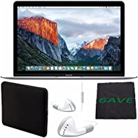 6Ave Apple 12 MacBook (Early 2016 Silver) #MLHC2LL/A + White Wired Earbuds Headphones + Padded Case For Macbook + Fibercloth Bundle
