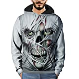 Clearance Mens T Shirts WEUIE Mens 3D Printed Skull Pullover Long Sleeve Hooded Sweatshirt Tops Blouse (3XL, Gray )