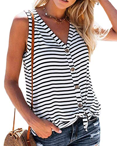 (Daomumen Womens Tank Tops Button Down Striped Sleeveless Tie Front Summer Casual V Neck Tunic Shirts)