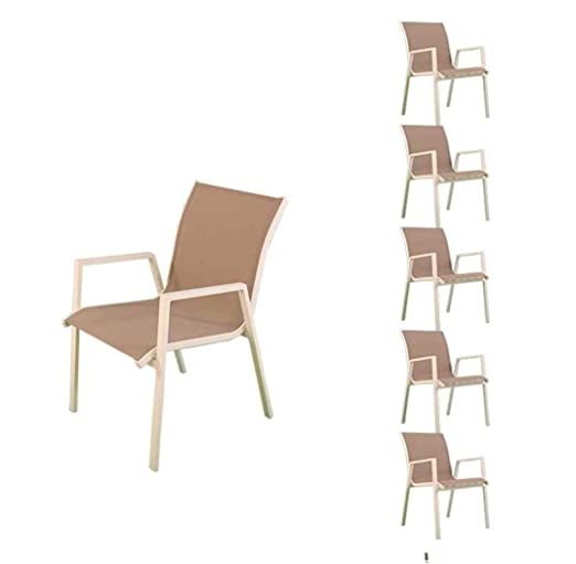 Pack 6 sillones para jardín apilables, Tamaño: 65x53x87 cm ...