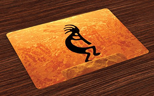 - Lunarable Kokopelli Place Mats Set of 4, Kokopelli Southwestern Style Eastern Picture Art, Washable Fabric Placemats for Dining Room Kitchen Table Decor, Yellow Orange