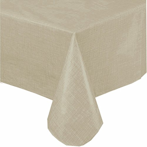 Premium Solid Color Vinyl Flannel Backed Tablecloth 52 x 90 Inch Oblong -Linen (Tablecloth Linen Solid)