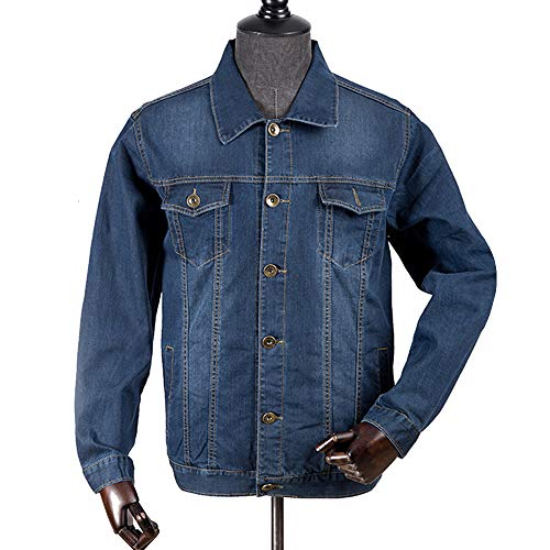 Coat KINDOYO Casual New Tooling Jacket Autumn Outwear Spring Blue Denim Size Jacket Men's Large xx5wgrq67