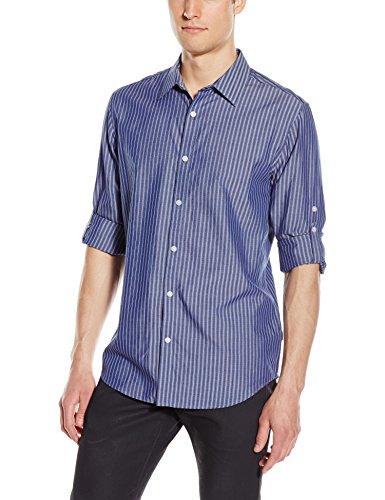 Calvin Klein Men's Long Sleeve Cotton Tencel Dobby Stripe Roll up Woven Shirt, Blue Jean Heather, (Dobby Stripe Shirt)
