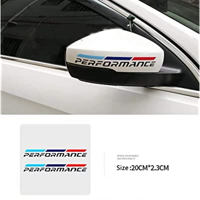 Duoles New Car Sports Styling Racing Decoration Performance Rear View Mirror Stickers Front Decal Styling For BMW M3 M5 X1 X3 X5 X6 E36 E39 E46 E30 E60 E92 (Black Rear View Mirror): Automotive