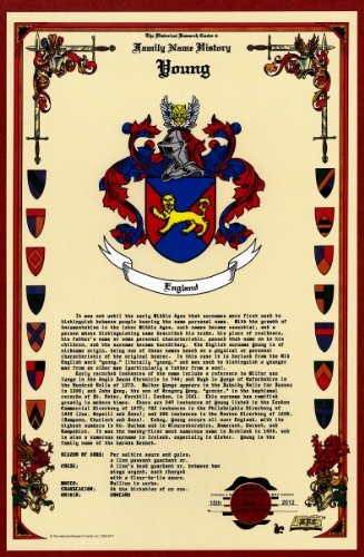 Young Coat of Arms/Crest and Family Name History, meaning & origin plus Genealogy/Family Tree Research aid to help find clues to ancestry, roots, namesakes and ancestors plus many other surnames at the Historical Research Center Store (Crest Family Surname)