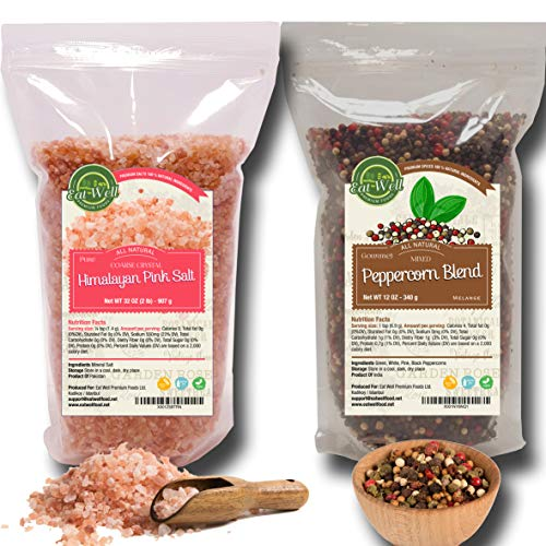 (Four Peppercorns Blend 12oz | Himalayan Pink Salt (Coarse Grain) 2 lbs | Freshly Packed , Whole Black , Pink , Green , White Multi Color Pepper)