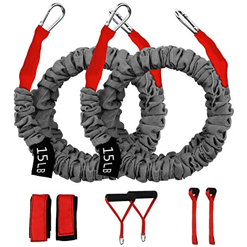 Crossover Workout Resistance Bands, Resistance Cords for Shoulder Exercise Comes with 2 Same Weight Resistance Tubes, Handles - Ankle Straps - Door Anchor - Carry Bag (Red-15lbs)