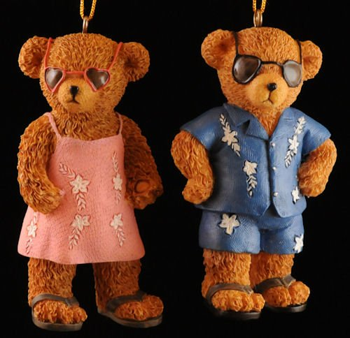 Beach Teddy Bear Christmas Ornaments (set of 2)