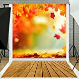 TMOTN 5x7ft Autumn Backdrop Beautiful Natural Scenic Photography Background with Wood Floor Children Backdrop D1985