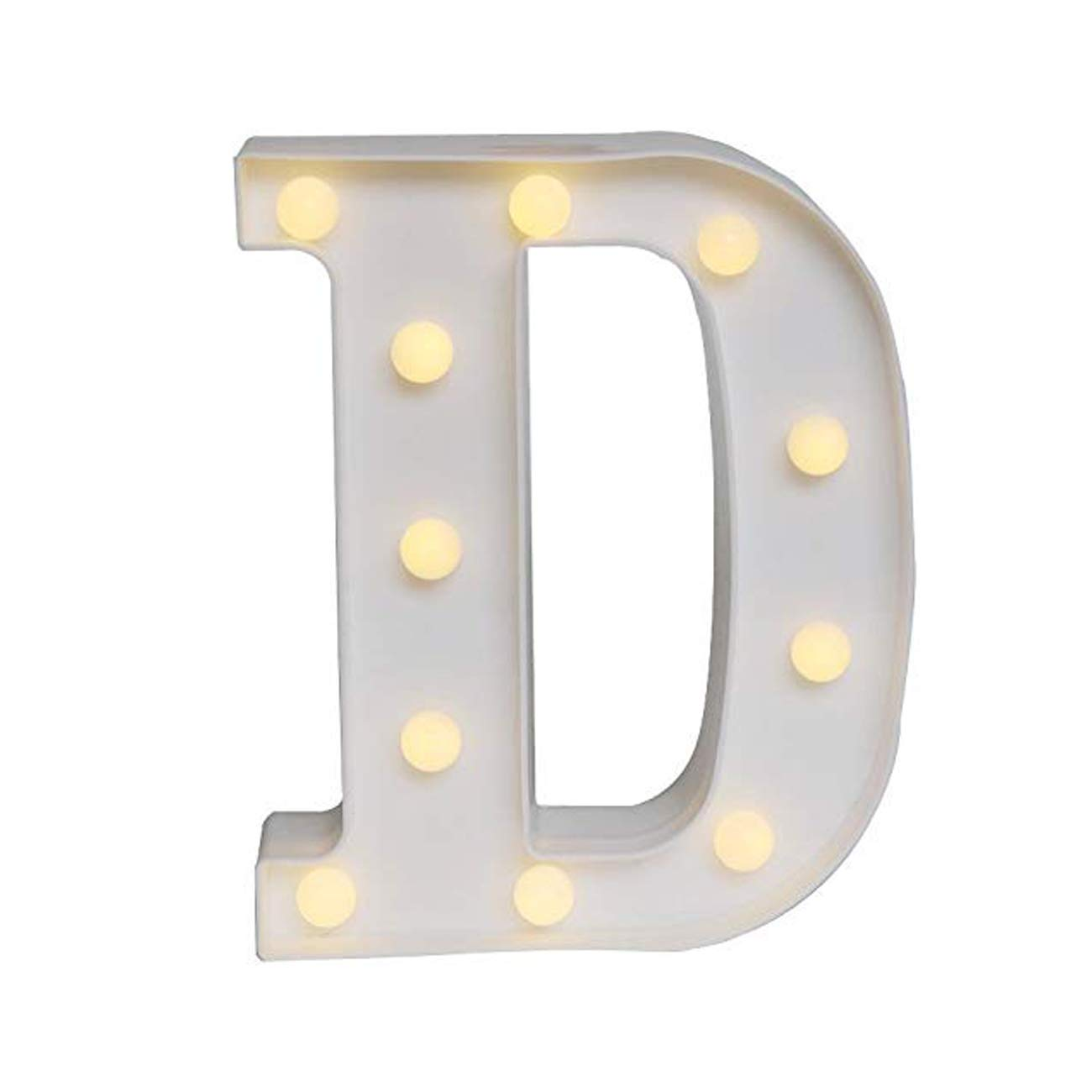 Sunnyglade White Marquee LED Alphabet Lights Arabic Numerals Lights for Party Home Bar Wedding Decor, Alphabet Wall Decoration Letter Lights (D)