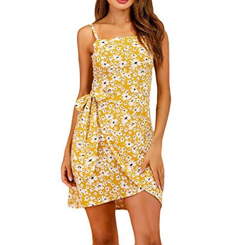 Ladies' Daisy Print Irregular Hem Lace Up Dress, Womens Summer Cute Floral Cold Shoulder Mini Dress, Sleeveless Sundress Casual Loose Swing Midi Dress Tank (L)