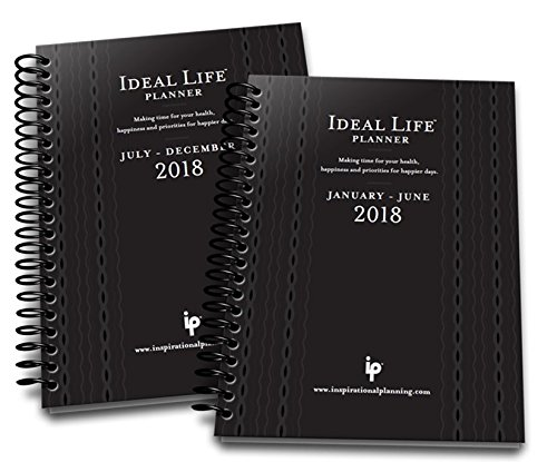 2018 Ideal LIfe Planner Black (two-6 month books) January to December with nutrition tracker